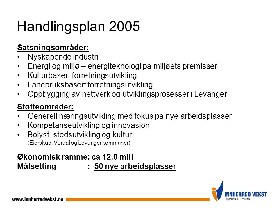 Handlingsplan 2005 Satsningsområder: Nyskapende industri Energi og miljø – energiteknologi på miljøets premisser Kulturbasert forretningsutvikling Lan