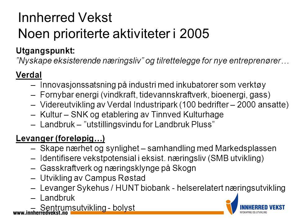 """Innherred Vekst Noen prioriterte aktiviteter i 2005 Utgangspunkt: """"Nyskape eksisterende næringsliv"""" og tilrettelegge for nye entreprenører… Verdal –In"""