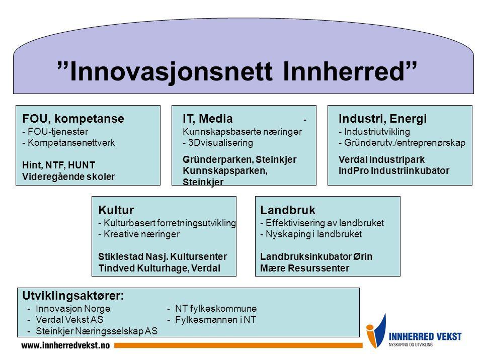 """""""Innovasjonsnett Innherred"""" FOU, kompetanse - FOU-tjenester - Kompetansenettverk Hint, NTF, HUNT Videregående skoler IT, Media - Kunnskapsbaserte næri"""