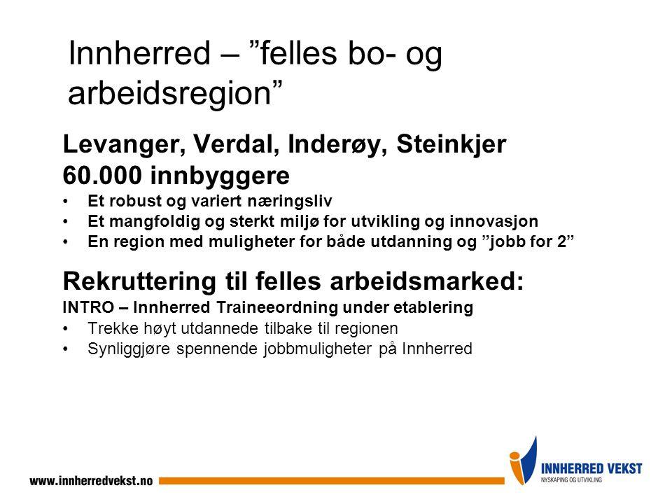 """Innherred – """"felles bo- og arbeidsregion"""" Levanger, Verdal, Inderøy, Steinkjer 60.000 innbyggere Et robust og variert næringsliv Et mangfoldig og ster"""