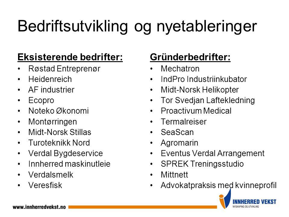 Bedriftsutvikling og nyetableringer Eksisterende bedrifter: Røstad Entreprenør Heidenreich AF industrier Ecopro Noteko Økonomi Montørringen Midt-Norsk