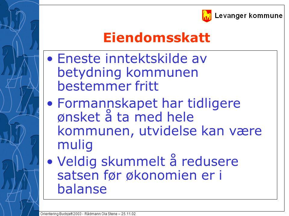 Orientering Budsjett 2003 - Rådmann Ola Stene – 25.11.02 Eiendomsskatt Eneste inntektskilde av betydning kommunen bestemmer fritt Formannskapet har ti