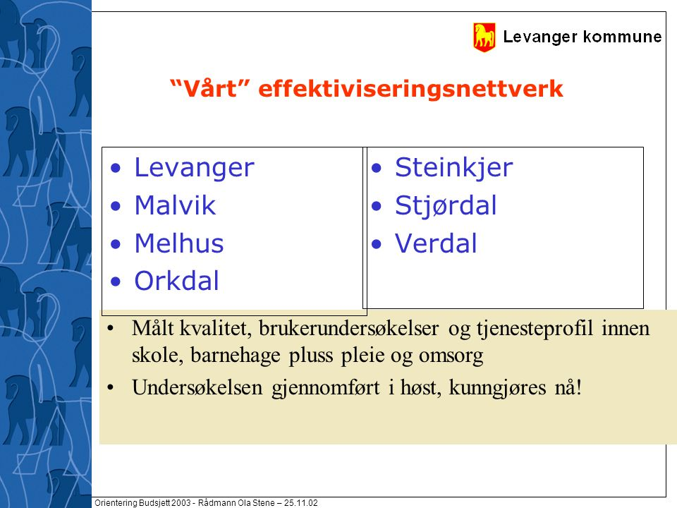 """Orientering Budsjett 2003 - Rådmann Ola Stene – 25.11.02 """"Vårt"""" effektiviseringsnettverk Målt kvalitet, brukerundersøkelser og tjenesteprofil innen sk"""