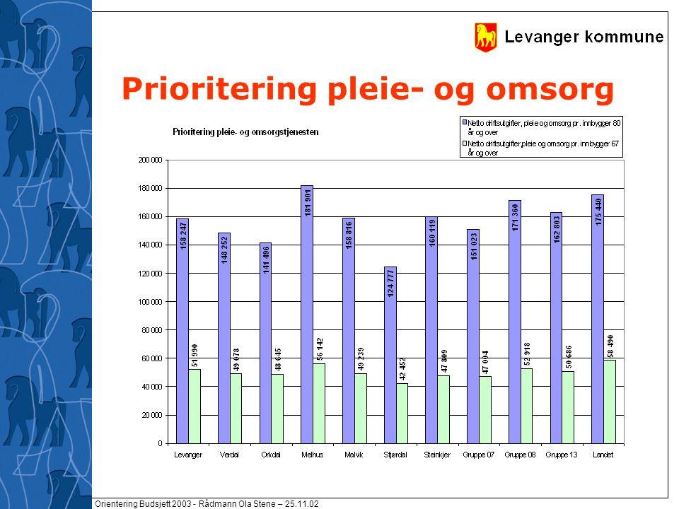 Orientering Budsjett 2003 - Rådmann Ola Stene – 25.11.02 Prioritering pleie- og omsorg