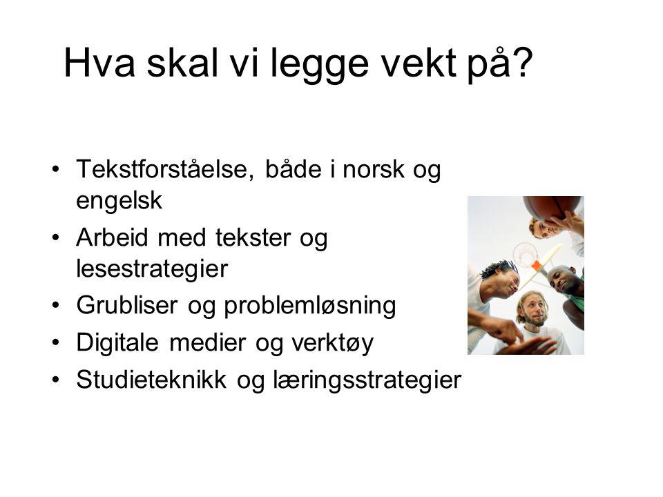 Hva skal vi legge vekt på? Tekstforståelse, både i norsk og engelsk Arbeid med tekster og lesestrategier Grubliser og problemløsning Digitale medier o