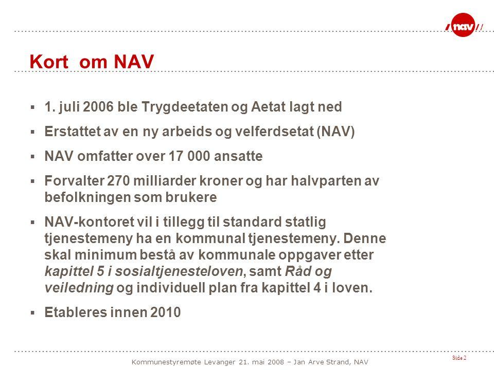 Side 2 Kommunestyremøte Levanger 21. mai 2008 – Jan Arve Strand, NAV Kort om NAV  1. juli 2006 ble Trygdeetaten og Aetat lagt ned  Erstattet av en n