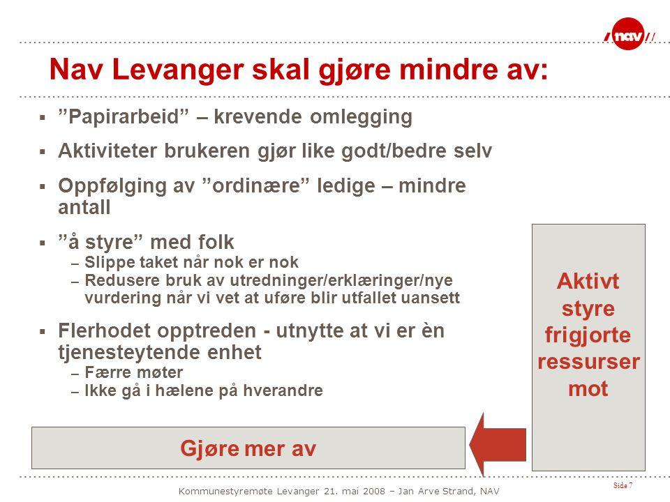 """Side 7 Kommunestyremøte Levanger 21. mai 2008 – Jan Arve Strand, NAV Nav Levanger skal gjøre mindre av:  """"Papirarbeid"""" – krevende omlegging  Aktivit"""