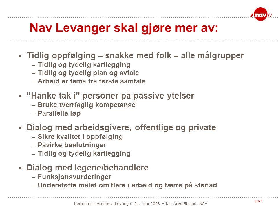 Side 8 Kommunestyremøte Levanger 21. mai 2008 – Jan Arve Strand, NAV Nav Levanger skal gjøre mer av:  Tidlig oppfølging – snakke med folk – alle målg