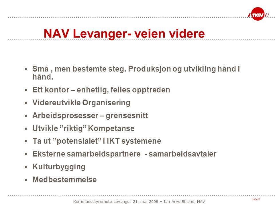 Side 9 Kommunestyremøte Levanger 21. mai 2008 – Jan Arve Strand, NAV NAV Levanger- veien videre  Små, men bestemte steg. Produksjon og utvikling hånd
