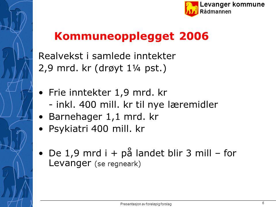 Levanger kommune Rådmannen Presentasjon av foreløpig forslag 7 Vekst i frie inntekter 2006 1,9 mrd.