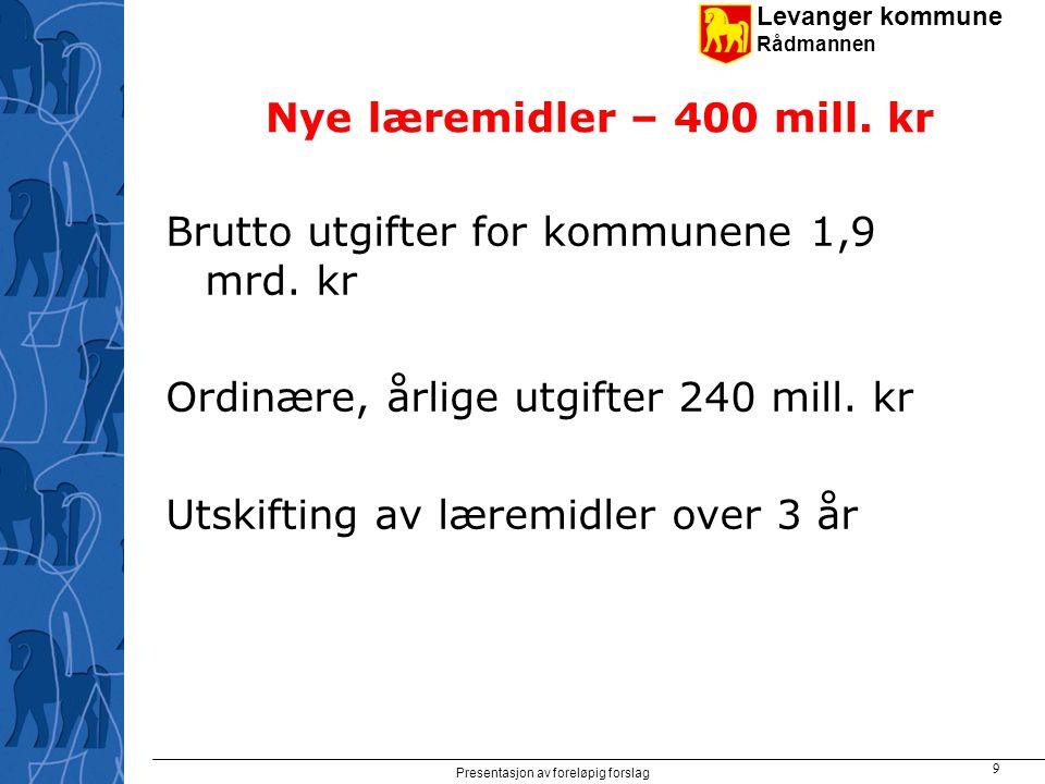 Levanger kommune Rådmannen Presentasjon av foreløpig forslag 10 Investeringsrammer for skoleanlegg og kirkebygg Skoleanlegg 2002-2009: 15 mrd.