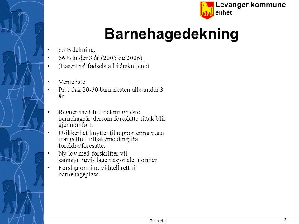 Levanger kommune enhet Bunntekst 2 Barnehagedekning 85% dekning.