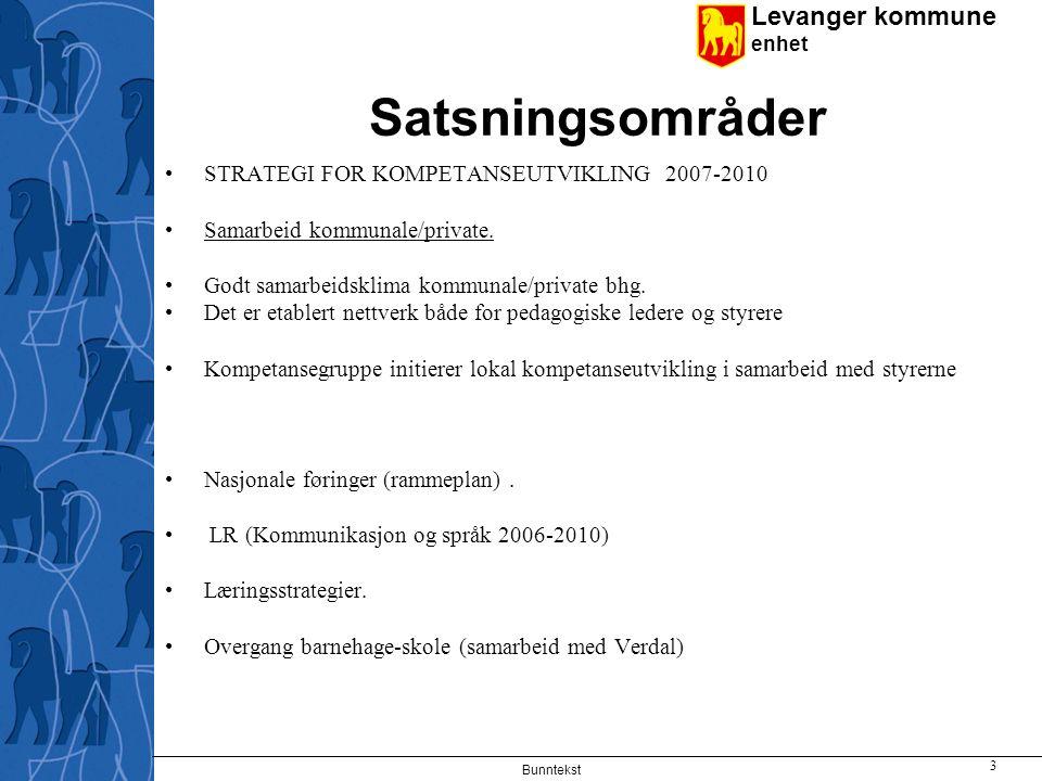 Levanger kommune enhet Bunntekst 3 Satsningsområder STRATEGI FOR KOMPETANSEUTVIKLING 2007-2010 Samarbeid kommunale/private.