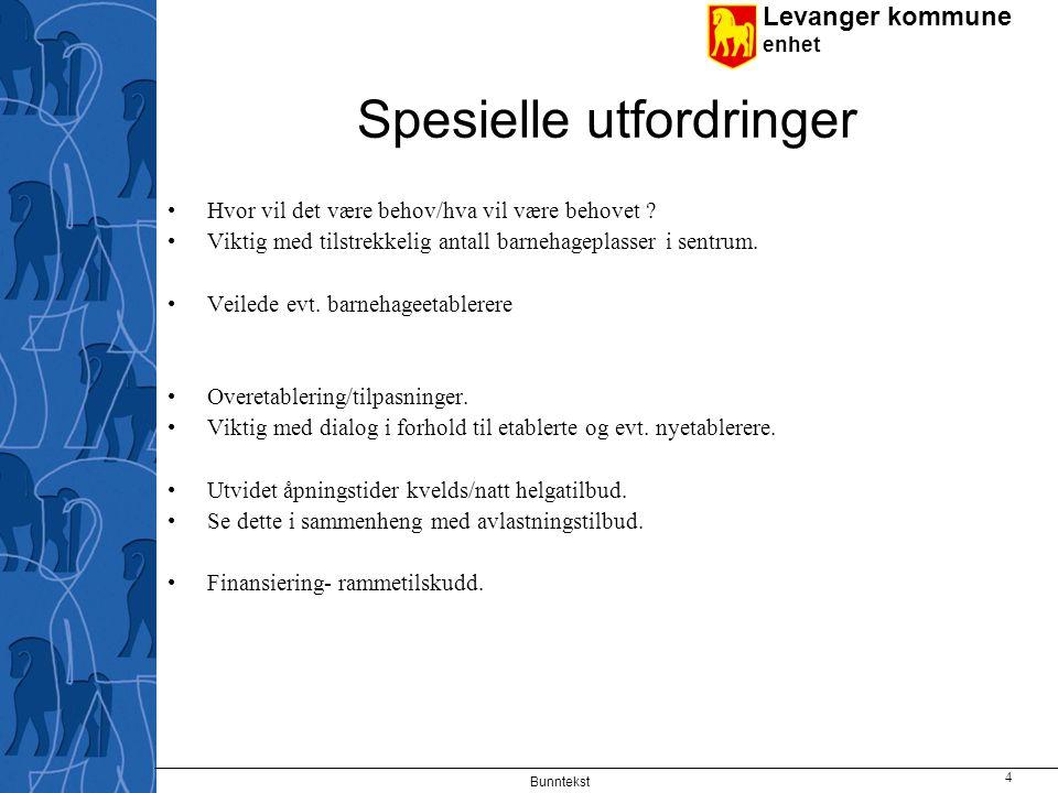 Levanger kommune enhet Bunntekst 4 Spesielle utfordringer Hvor vil det være behov/hva vil være behovet .