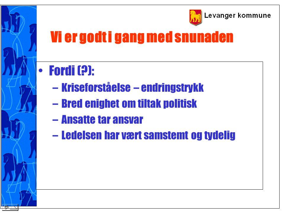 Prioritere mål i Forny 2001- strategiplan (økonomiplan) Prioritet nr 1: Tiltak som bidrag til at Levanger gjenvinner sin økonomiske handlefrihet Prioritet nr.