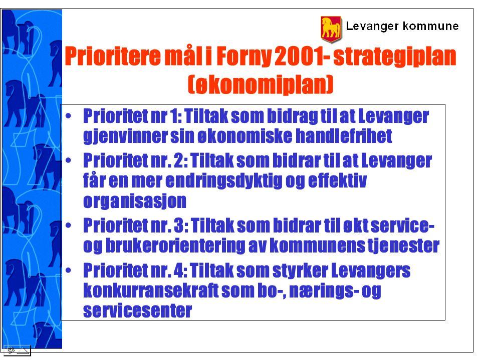 Prioritere mål i Forny 2001- strategiplan (økonomiplan) Prioritet nr 1: Tiltak som bidrag til at Levanger gjenvinner sin økonomiske handlefrihet Prior