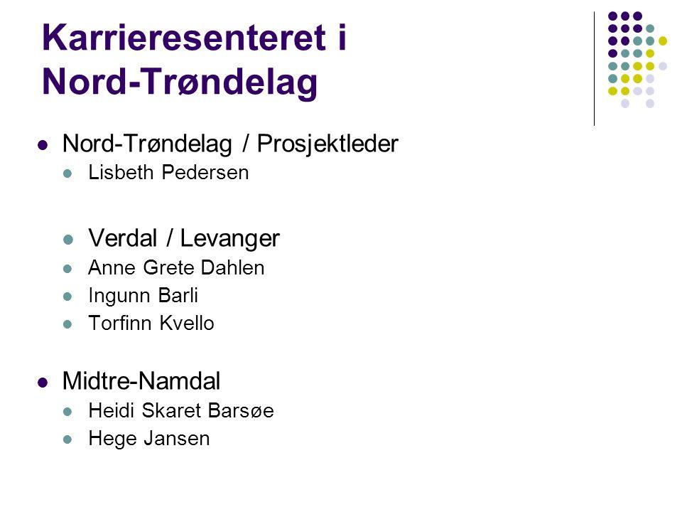 Karrieresenteret i Nord-Trøndelag Nord-Trøndelag / Prosjektleder Lisbeth Pedersen Verdal / Levanger Anne Grete Dahlen Ingunn Barli Torfinn Kvello Midtre-Namdal Heidi Skaret Barsøe Hege Jansen
