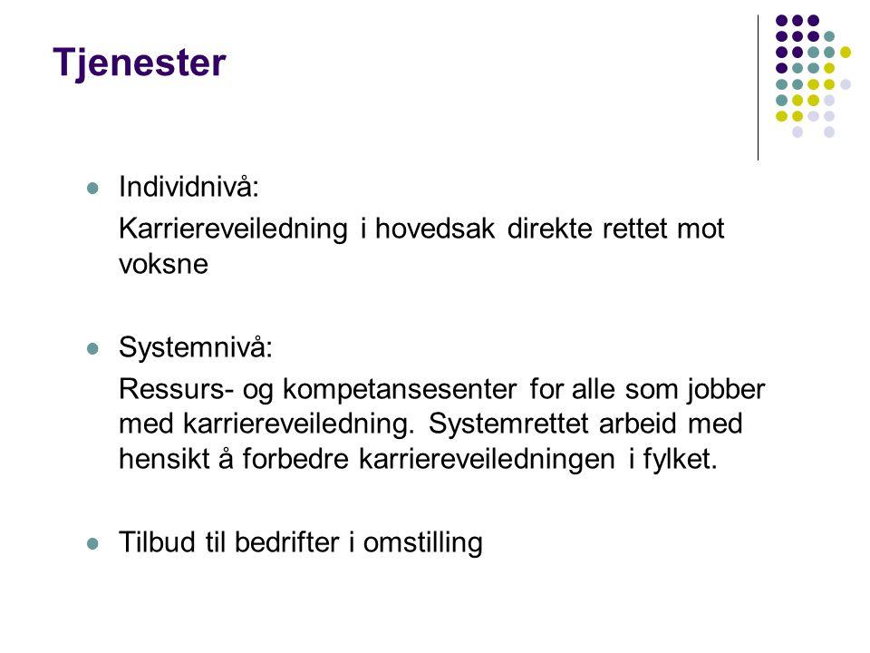 Tjenester Individnivå: Karriereveiledning i hovedsak direkte rettet mot voksne Systemnivå: Ressurs- og kompetansesenter for alle som jobber med karriereveiledning.