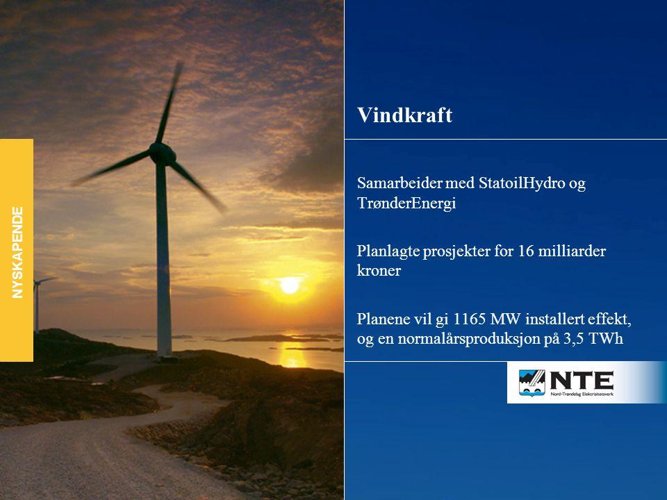 Samarbeider med StatoilHydro og TrønderEnergi Planlagte prosjekter for 16 milliarder kroner Planene vil gi 1165 MW installert effekt, og en normalårsproduksjon på 3,5 TWh Vindkraft NYSKAPENDE