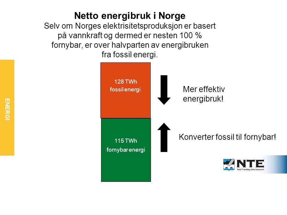 Vi må bruke mindre energi – og mer fornybar fornybar energi fossil energi Mer effektiv energibruk.