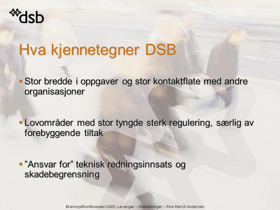 Brannsjefkonferansen 2005, Levanger – Orienteringer – Finn Mørch Andersen DSBs samfunnsoppdrag  Vi skal ha oversikt over risiko- og sårbarhetsutviklingen i samfunnet.