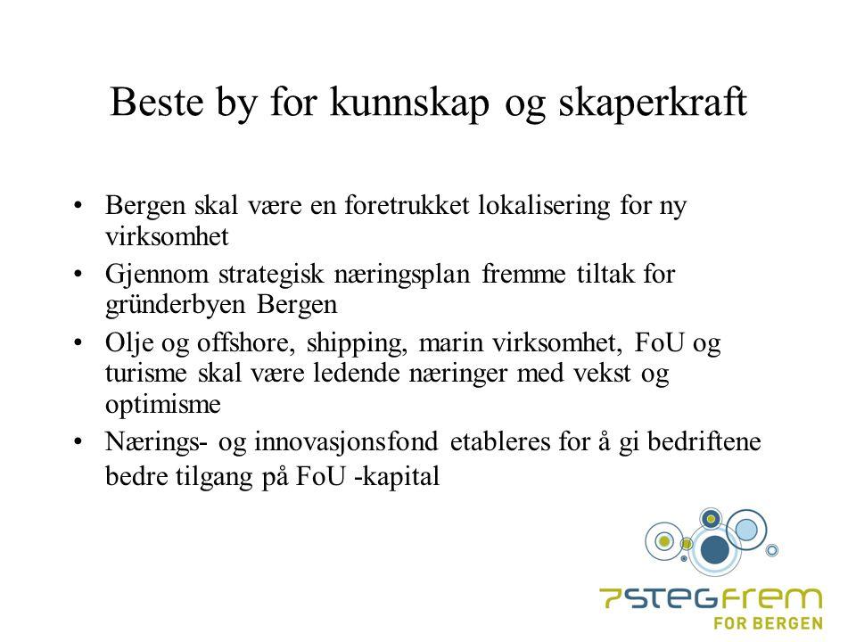 Beste by for kunnskap og skaperkraft Bergen skal være en foretrukket lokalisering for ny virksomhet Gjennom strategisk næringsplan fremme tiltak for gründerbyen Bergen Olje og offshore, shipping, marin virksomhet, FoU og turisme skal være ledende næringer med vekst og optimisme Nærings- og innovasjonsfond etableres for å gi bedriftene bedre tilgang på FoU -kapital