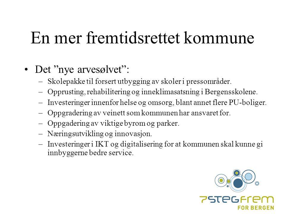 En mer fremtidsrettet kommune Det nye arvesølvet : –Skolepakke til forsert utbygging av skoler i pressområder.