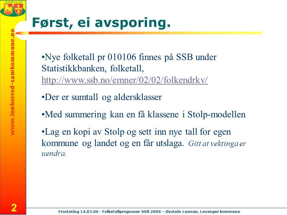 www.innherred-samkommune.no Frostating 14.03.06 - Folketallprognoser SSB 2006 – Øystein Lunnan, Levanger kommune 2 Først, ei avsporing. Nye folketall