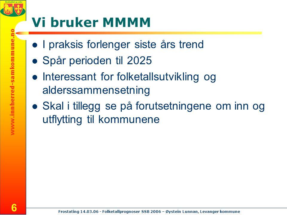 www.innherred-samkommune.no Frostating 14.03.06 - Folketallprognoser SSB 2006 – Øystein Lunnan, Levanger kommune 17 Vi følger et kull