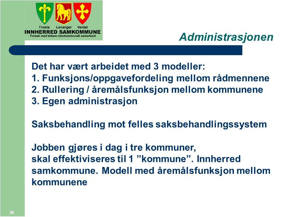 20 Administrasjonen Det har vært arbeidet med 3 modeller: 1.