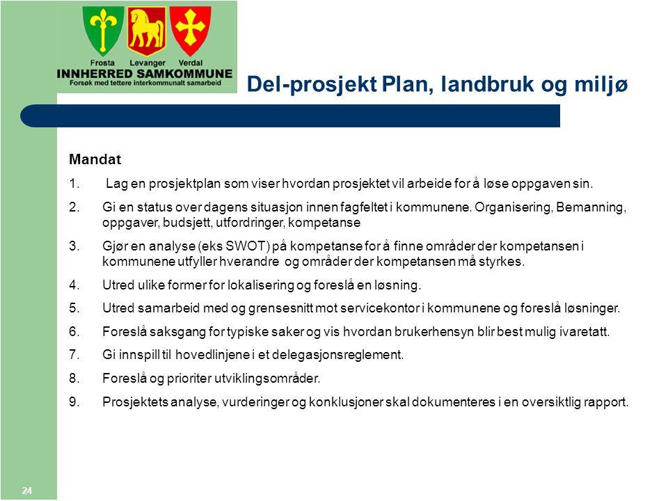 24 Del-prosjekt Plan, landbruk og miljø Mandat 1.