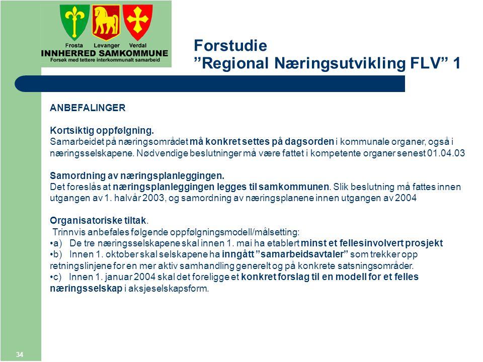 34 Forstudie Regional Næringsutvikling FLV 1 ANBEFALINGER Kortsiktig oppfølgning.