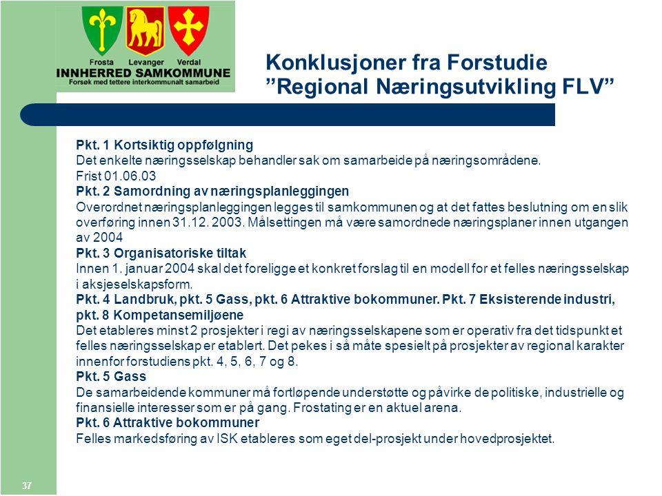 37 Konklusjoner fra Forstudie Regional Næringsutvikling FLV Pkt.