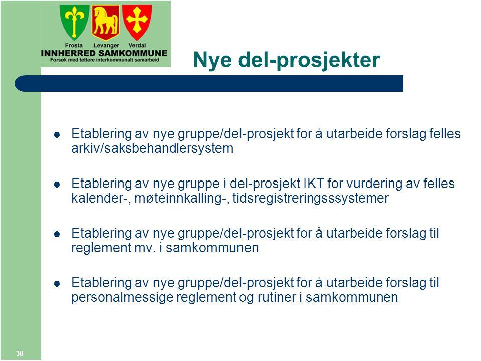 38 Nye del-prosjekter Etablering av nye gruppe/del-prosjekt for å utarbeide forslag felles arkiv/saksbehandlersystem Etablering av nye gruppe i del-prosjekt IKT for vurdering av felles kalender-, møteinnkalling-, tidsregistreringsssystemer Etablering av nye gruppe/del-prosjekt for å utarbeide forslag til reglement mv.