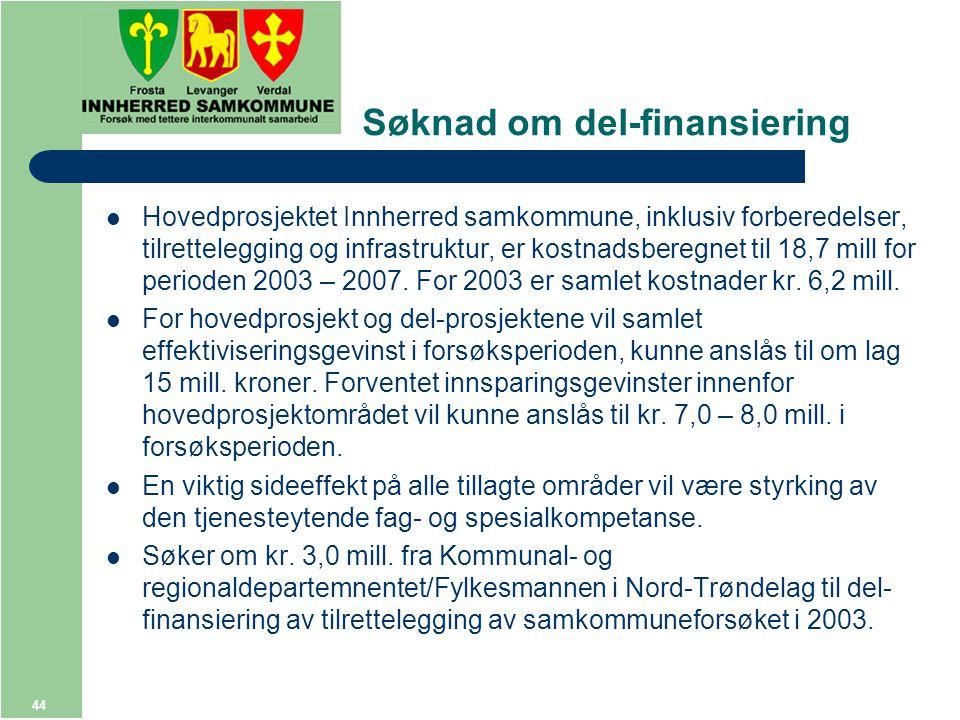 44 Søknad om del-finansiering Hovedprosjektet Innherred samkommune, inklusiv forberedelser, tilrettelegging og infrastruktur, er kostnadsberegnet til 18,7 mill for perioden 2003 – 2007.
