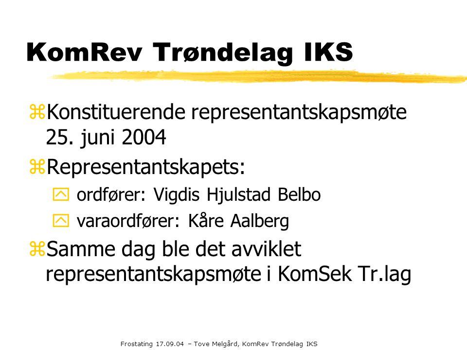 Frostating 17.09.04 – Tove Melgård, KomRev Trøndelag IKS KomRev Trøndelag IKS zKonstituerende representantskapsmøte 25. juni 2004 zRepresentantskapets