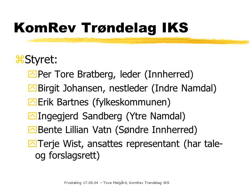 Frostating 17.09.04 – Tove Melgård, KomRev Trøndelag IKS KomRev Trøndelag IKS zStyret: yPer Tore Bratberg, leder (Innherred) yBirgit Johansen, nestled