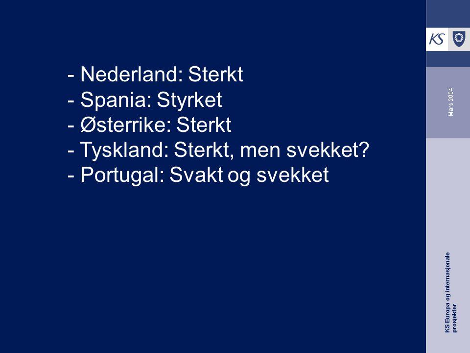 KS Europa og internasjonale prosjekter Mars 2004 - Nederland: Sterkt - Spania: Styrket - Østerrike: Sterkt - Tyskland: Sterkt, men svekket.