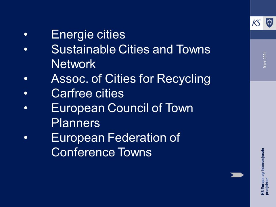 KS Europa og internasjonale prosjekter Mars 2004 Energie cities Sustainable Cities and Towns Network Assoc.