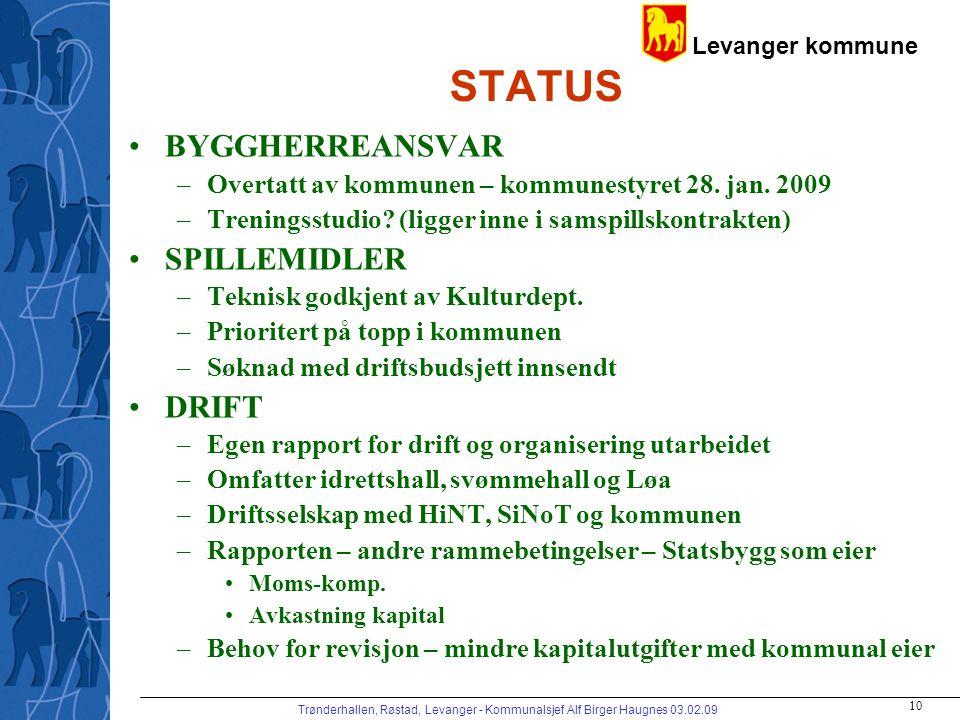 Levanger kommune Trønderhallen, Røstad, Levanger - Kommunalsjef Alf Birger Haugnes 03.02.09 10 STATUS BYGGHERREANSVAR –Overtatt av kommunen – kommunes