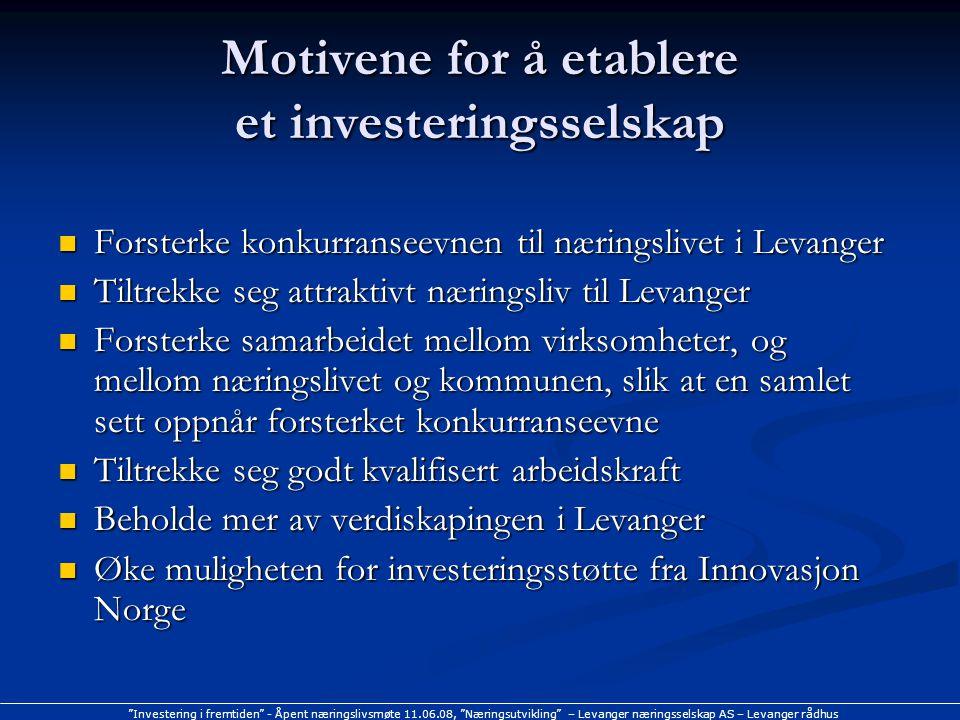 """""""Investering i fremtiden"""" - Åpent næringslivsmøte 11.06.08, """"Næringsutvikling"""" – Levanger næringsselskap AS – Levanger rådhus Motivene for å etablere"""
