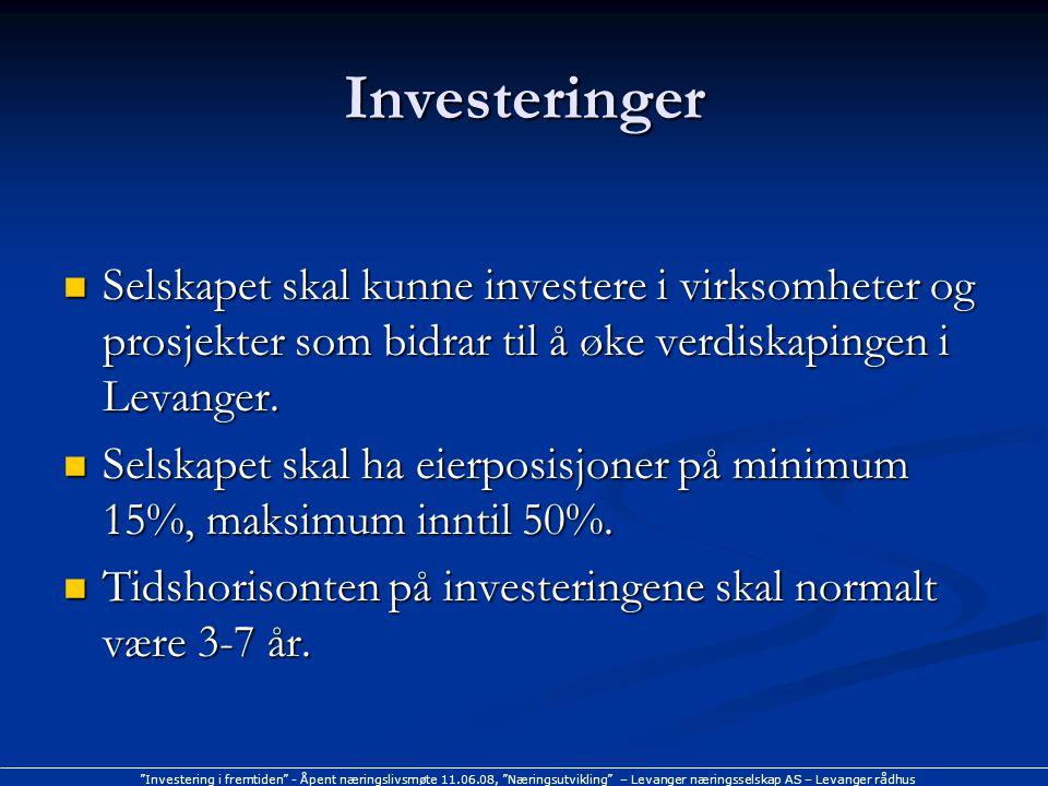 Investering i fremtiden - Åpent næringslivsmøte 11.06.08, Næringsutvikling – Levanger næringsselskap AS – Levanger rådhus Investeringer Selskapet skal kunne investere i virksomheter og prosjekter som bidrar til å øke verdiskapingen i Levanger.