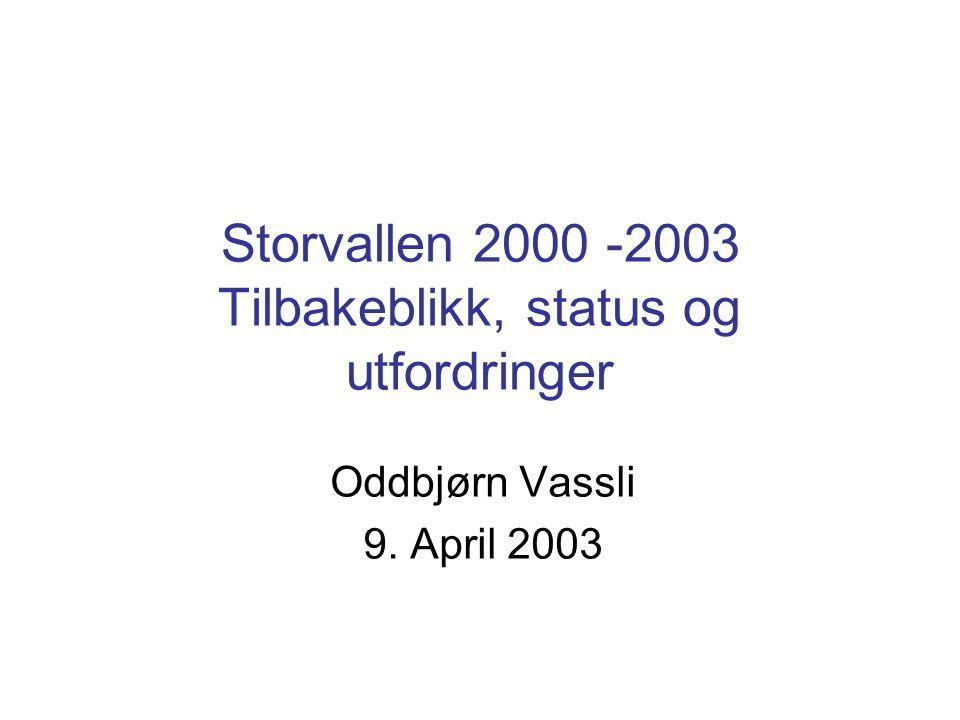 Oddbjørn Vassli 9. April 2003 Storvallen 2000 -2003 Tilbakeblikk, status og utfordringer