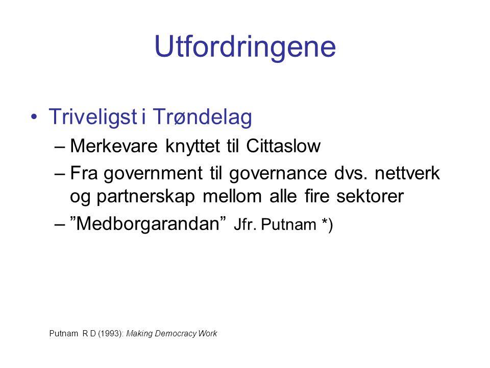 Utfordringene Triveligst i Trøndelag –Merkevare knyttet til Cittaslow –Fra government til governance dvs.