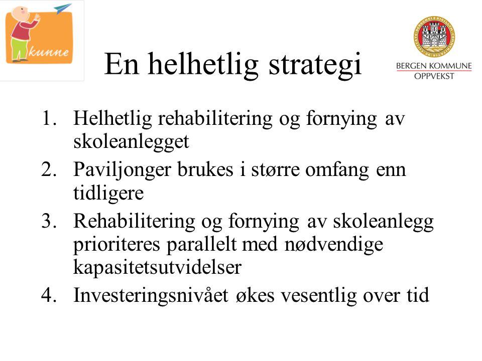 En helhetlig strategi 1.Helhetlig rehabilitering og fornying av skoleanlegget 2.Paviljonger brukes i større omfang enn tidligere 3.Rehabilitering og f