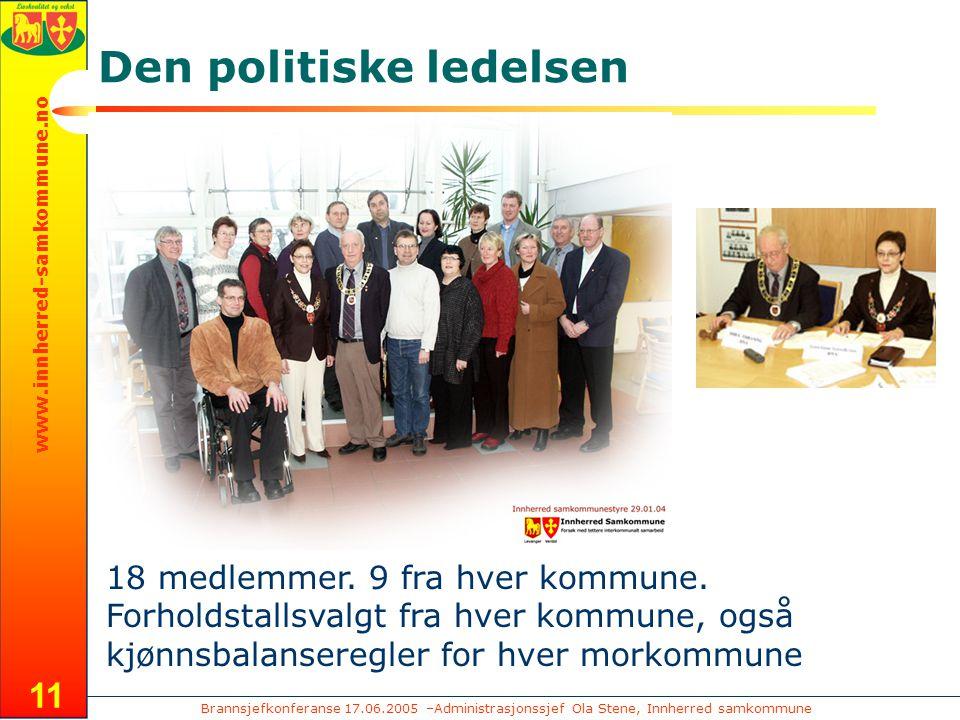 Brannsjefkonferanse 17.06.2005 –Administrasjonssjef Ola Stene, Innherred samkommune www.innherred-samkommune.no 11 Den politiske ledelsen 18 medlemmer.