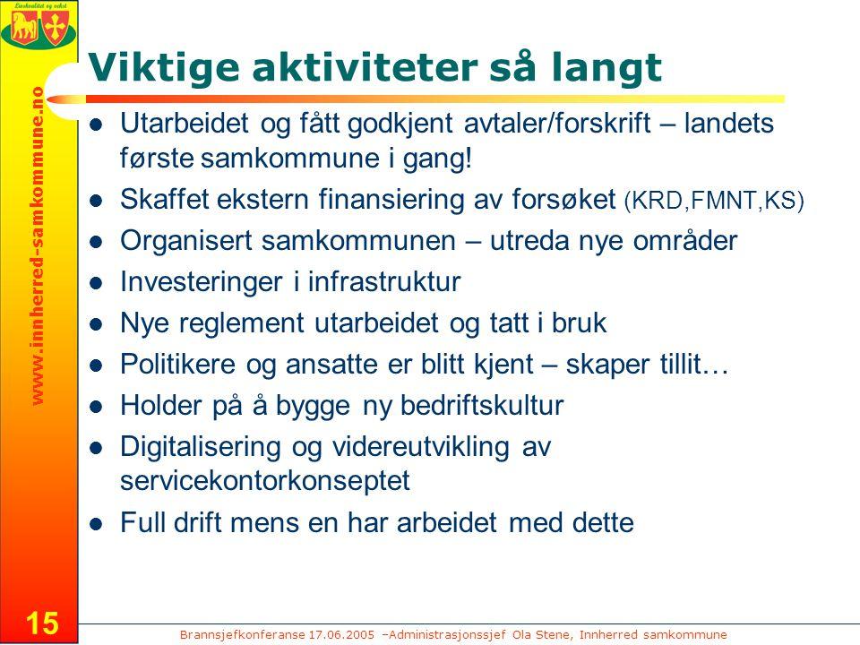 Brannsjefkonferanse 17.06.2005 –Administrasjonssjef Ola Stene, Innherred samkommune www.innherred-samkommune.no 15 Viktige aktiviteter så langt Utarbe