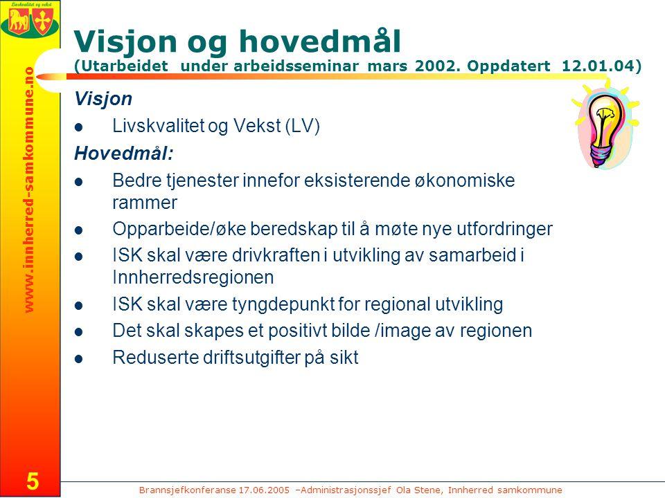 Brannsjefkonferanse 17.06.2005 –Administrasjonssjef Ola Stene, Innherred samkommune www.innherred-samkommune.no 5 Visjon og hovedmål (Utarbeidet under arbeidsseminar mars 2002.