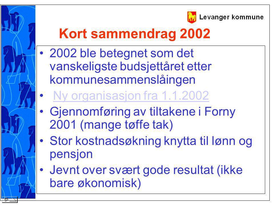 Kort sammendrag 2002 2002 ble betegnet som det vanskeligste budsjettåret etter kommunesammenslåingen Ny organisasjon fra 1.1.2002 Gjennomføring av tiltakene i Forny 2001 (mange tøffe tak) Stor kostnadsøkning knytta til lønn og pensjon Jevnt over svært gode resultat (ikke bare økonomisk)