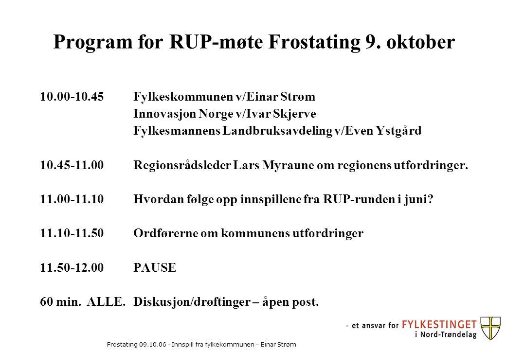 Frostating 09.10.06 - Innspill fra fylkekommunen – Einar Strøm Program for RUP-møte Frostating 9.